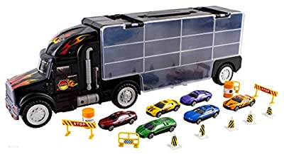 WolVol Transport Car Carrier Truck Toy for Boys (includes 6 cars and 28 slots) by WolVol