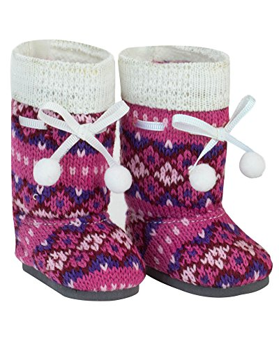 18 Inch Doll Shoes, Pink Knit Pom-pom Doll Boots Perfect Fit for your 18 Inch American Girl Dolls & More! Pink Knit Pom-pom Boots - 1