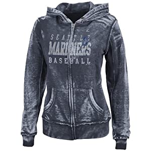 MLB Seattle Mariners Washed Athletic Navy Heather Long Sleeve Full Zip Hood Bunout... by Majestic