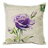 "Createforlife Cotton Linen Square Decorative Throw Pillow Case Cushion Cover Retro Violet Rose 18"""