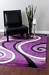 0327 Purple Black White 5\'2x7\'2 Area Rug Abstract Carpet