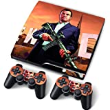 PS3 PlayStation 3 Slim Skin Stickers PVC for Console + 2 Controllers/ Pads Decal Protector Cover Art Leather Effect GTA