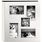 "Pioneer Collage Frame Embossed ""Wedding"" Sewn Leatherette Cover Photo Album, Ivory"