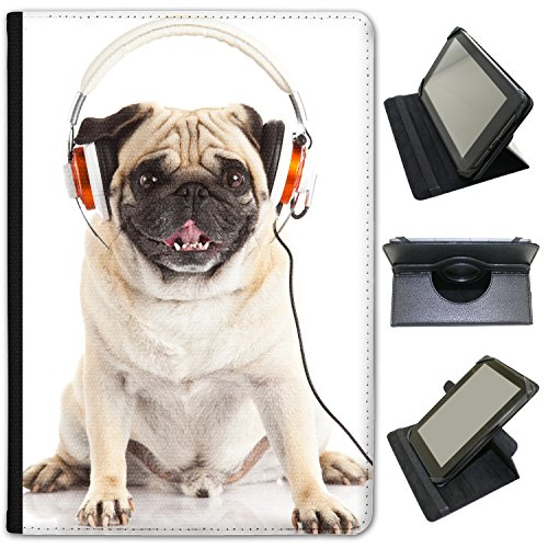music-mad-pug-with-headphones-universal-faux-leather-case-cover-folio-for-the-lenovo-tab-a10-30-101-