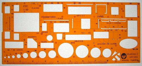 Metric 1:50 Scale Architect Design Drawing Template Stencil - Furniture Layout Symbols for House Interior Planning