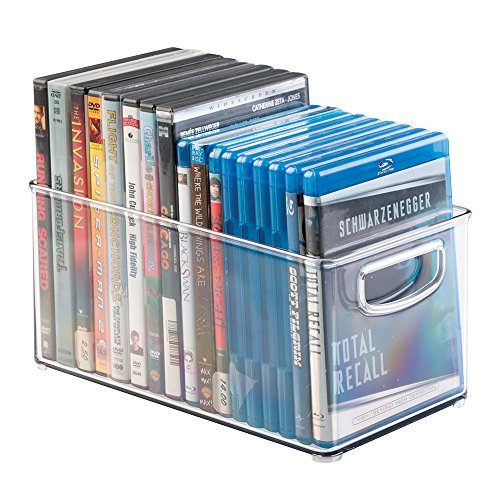 mDesign Household Storage Bin for DVDs, PS4 and Xbox Video Games – Medium, Clear