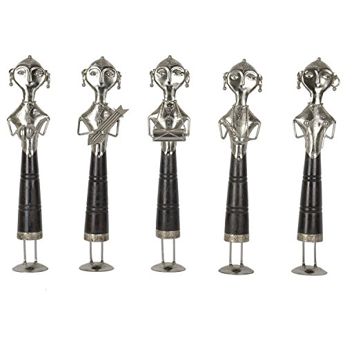 Pushpa Wood And Metal Lady Musicians-(Set Of 5, 5 In X 21 In, Black)
