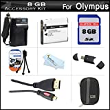 8GB Accessories Kit For Olympus Stylus SZ-15 Digital Camera Includes 8GB High Speed SD Memory Card + Extended Replacement (1000 maH) LI-50B Battery + AC/DC Travel Charger + Mini HDMI Cable + USB 2.0 Card Reader + Hard Case + Screen Protectors + More