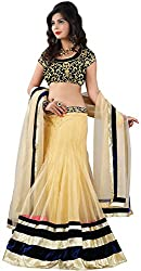 DWM Collection Women's Synthetic Semi-Stitched Lehenga Choli (Black-White)