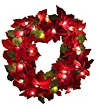 GKI Bethlehem Lighting Red Velvet Poinsettia 30-Inch Christmas Wreath with 35 Clear Mini