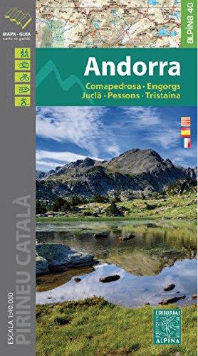 Andorra. Comapedrosa, Engorgs, Juclà, Pessons, Tristaina. Mapa excursionsita. Escala 1:40.000. Editorial Alpina.