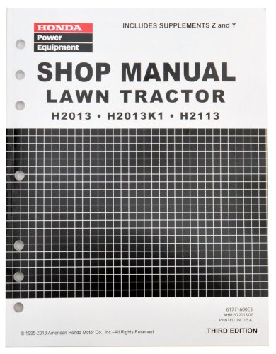 Honda H2013 H2113 Lawn Tractor Mower Service Repair Shop Manual