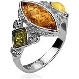Multicolor Amber Sterling Silver Designer Ring