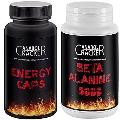 Energy Caps, 60 Kapseln, Hardcore Energie Booster + Beta Alanine 5000 mg, 200g Pulver, hoch dosiert, Geschmacksneutral