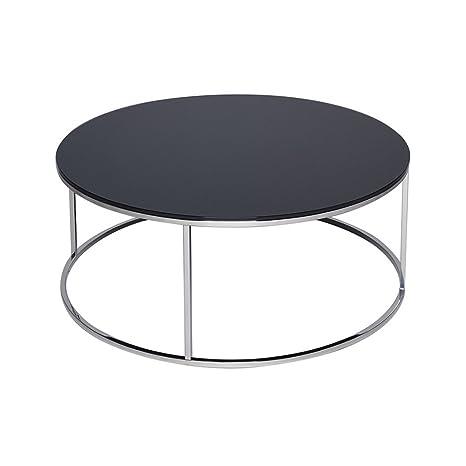Gillmore Space Argento e vetro nero contemporaneo tavolino circolare in metallo
