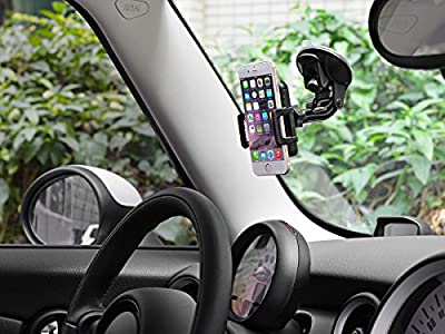 TaoTronics Windshield Dashboard Car Mount Holder Universal Black for iPhone 6 (4.7)/ Plus (5.5)/ 5s/ 5c/4s/4, Samsung Galaxy S6/S6 Edge/S5/S4/S3/ Note 4/3, Google Nexus 5/4, LG G3, Nokia, Moto, HTC - TT-SH08 - Upgraded Version of TT-SH02