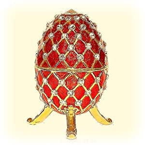 Large RED Faberge style Egg Box 24K Gold Swarovski Crystals with Big Jewelry FIGURINE