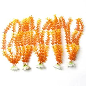 5 Pcs 11.8High Yellow Orangered Emulational Plants Decoration for Fish Tank