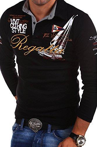MT Styles - R-0665 - Polo a maniche lunghe REGATTA - Nero - XL