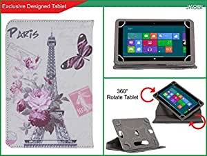 Jkobi Exclusive Leather Printed Design Tablet Book Flip Case Cover For Spice MI-710 (Universal) - Eiffel Tower With Butterfly