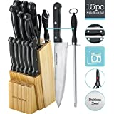 Knife Set of 15 Pieces -Scissor & Round Knife Sharpener Included -And A Wood Butcher Block Knives Holder -Cutlery Set For Chefs, Cooks, Commercial Kitchens, Homes, Culinary Schools -By Kitch N' Wares