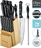 Knife Set of 15 Pieces -Scissor and Round Knife Sharpener Included -And A Wood Butcher Block Knives Holder -Cutlery Set For Chefs, Cooks, Commercial Kitchens, Homes, Culinary Schools -By Kitch N Wares