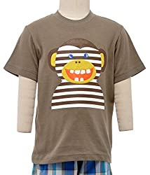 JusCubs Striped Monkey T-shirt