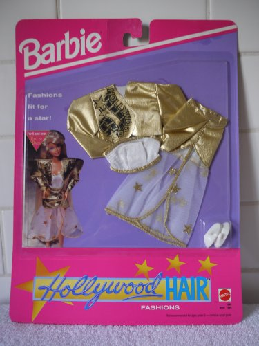 Barbie HOLLYWOOD HAIR Fashion #1996- Gold Lame Jacket and Skirt Set (1992) - 1