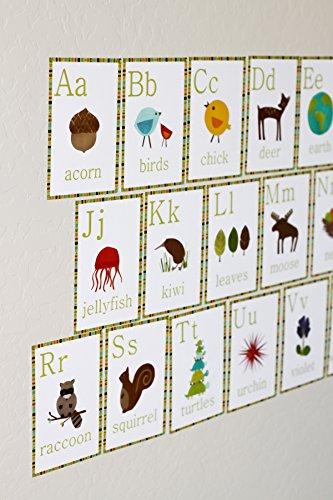 English Alphabet 5x7 Wall Cards, Nature Themed, Kid's Wall Art, Nursery Decor, Kid's Room Decor, Gender Neutral Nursery Decor