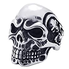 buy Konov Vintage Gothic Skull Biker Stainless Steel Mens Ring, Silver, Size 11