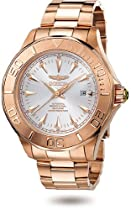 Hot Sale Men's 23K Rose Gold Stainless Steel Signature Ocean Ghost Silver Dial Automatic