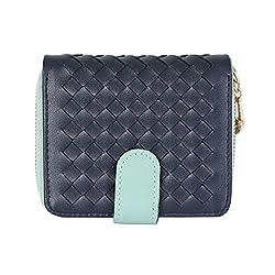 Luna Women's Leather Wallet Bifold Small Purse Card Holder (Navy)