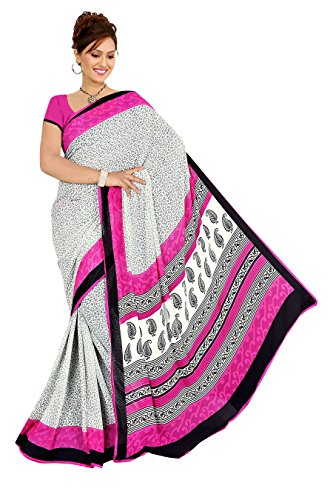 Varsha Sarees Women's Synthetic Georgette Unstitched White Colored Geometric Print Saree_3845a