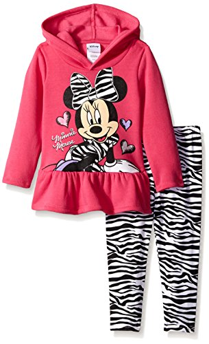 Disney Little Girls' Long Sleeve Minnie Mouse Hoodie with Zebra Printed Legging, Pink, 3T