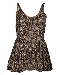 Geroo cotton hand block printed Women's halter Top with golden strips and sequins work (TV-5G, Black, 36)