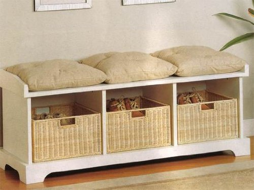 Storage Bench with Baskets and Cushions
