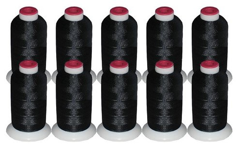 10-cone Polyester Embroidery Thread Kit - 10 Black - 1100 yards - 40wt