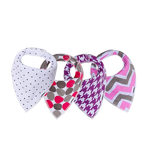MorePet Baby Bandana Drool Bibs For Drooling and Teething 4 Pack Designer Style For Boys and Girls (purple)