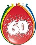 Toy - 8 Luftballons Zahl 60 Geburtstag bunt