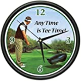GOLFING Wall Clock golfer golf club ball glove gift