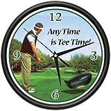Golfing Wall Clock Golfer Golf Club Ball Glove Gift