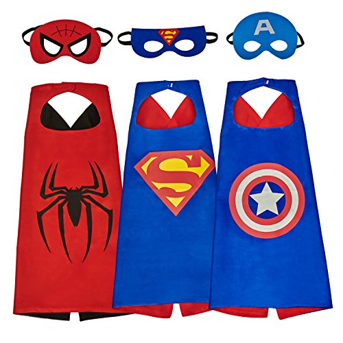 Mijoyee Superhero Dress Up Costumes and Mask set of 3 different styles
