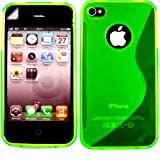 S-Line Gel Case Cover Shell And Screen Protector For Apple iPhone 4 4S / Matte Green