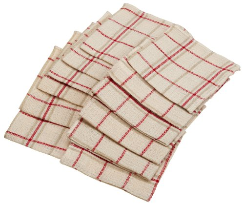 Excello Waffle Weave Dish Cloth, Red, Set of 12
