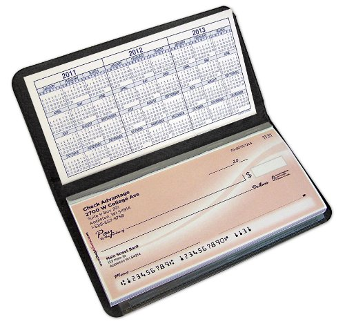 Business Cheque Book Covers : Basic black leather checkbook cover apparel accessories