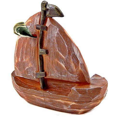 Antiques style nautical brown boat 7 inches money piggy bank money box home garden decor banks jars - Nautical piggy banks ...