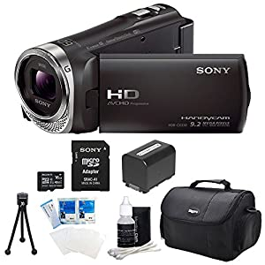 Sony HDR-CX330 HDR-CX330/B CX330 Full HD 60p Camcorder - Black Bundle with 16GB High Speed Micro SD Card, Spare High Capacity Battery, Table top Tripod, Padded Case, LCD Screen Protectors, and Lens Cleaning Kit