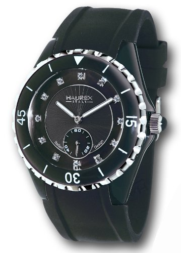 HAUREX ITALY Riviera Mother-of-Pearl Black Dial Watch #1N337DNS- Orologio da donna