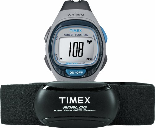 Timex Unisex T5K738 Personal Trainer Analog Hrm Flex Tech Chest Strap & Full-Size Gray/Blue Watch front-841959