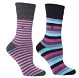 Womens Aqua Stripe Cushion Foot Honeycombe Top Gentle Grip Sock By Sock Shop 2pk